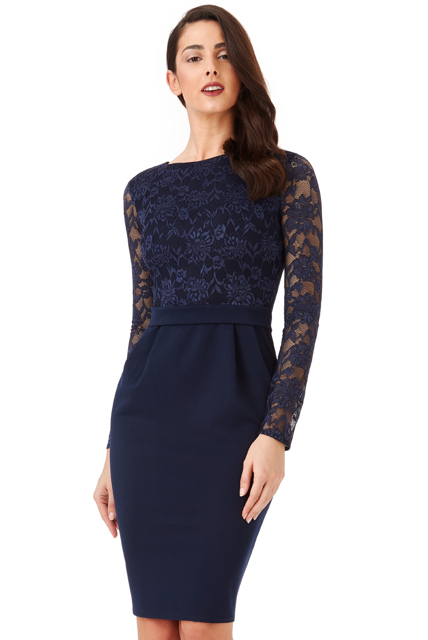 Wholesale Long Sleeved Lace Midi Dress