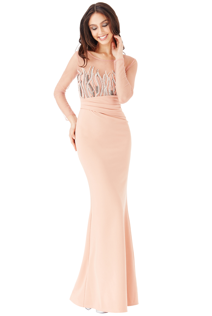 Wholesale Long Sleeved Embellished Maxi Dress