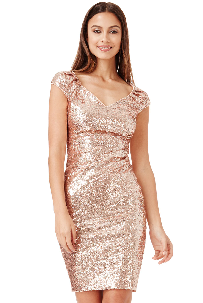 Wholesale Sweetheart Neckline Sequin Pleated Midi Dress