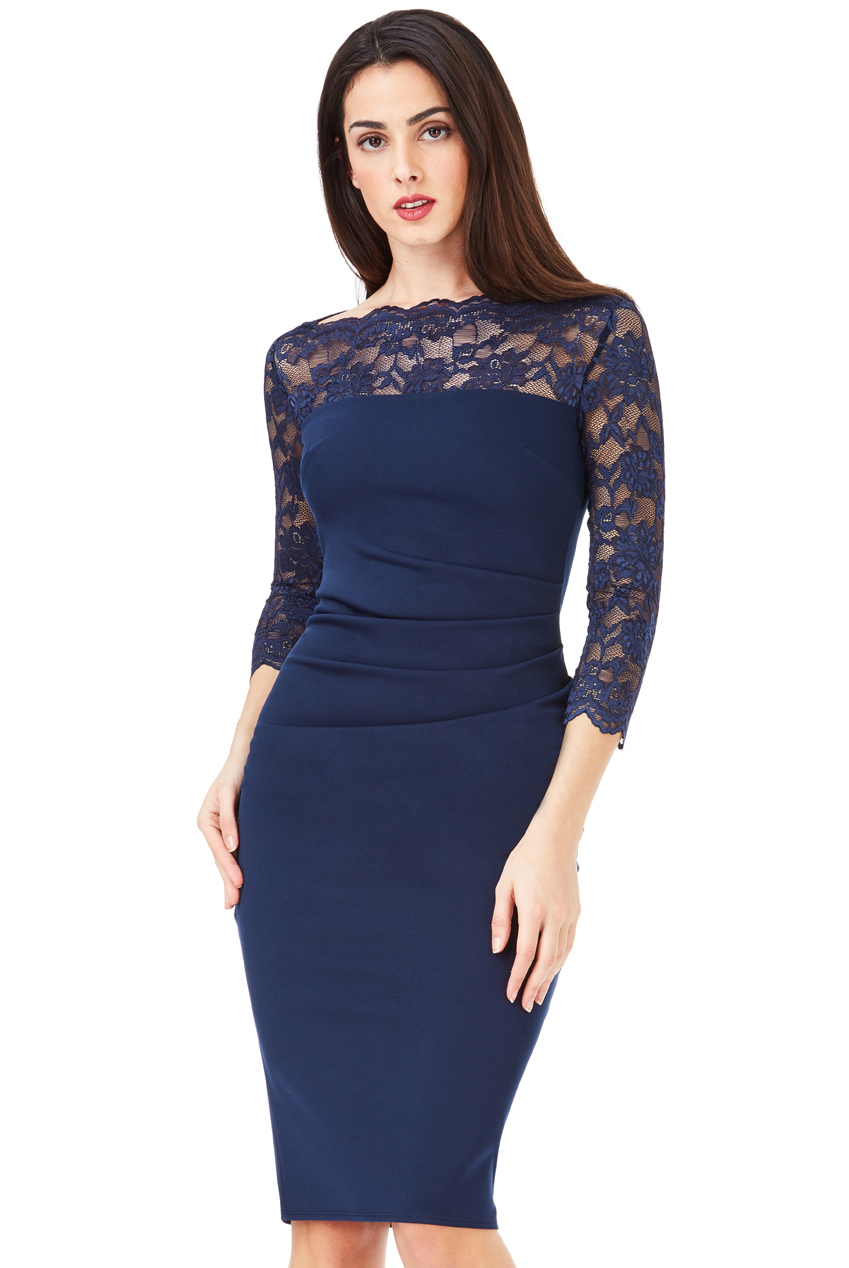 Wholesale Fitted Midi Dress with Scalloped Lace Neckline