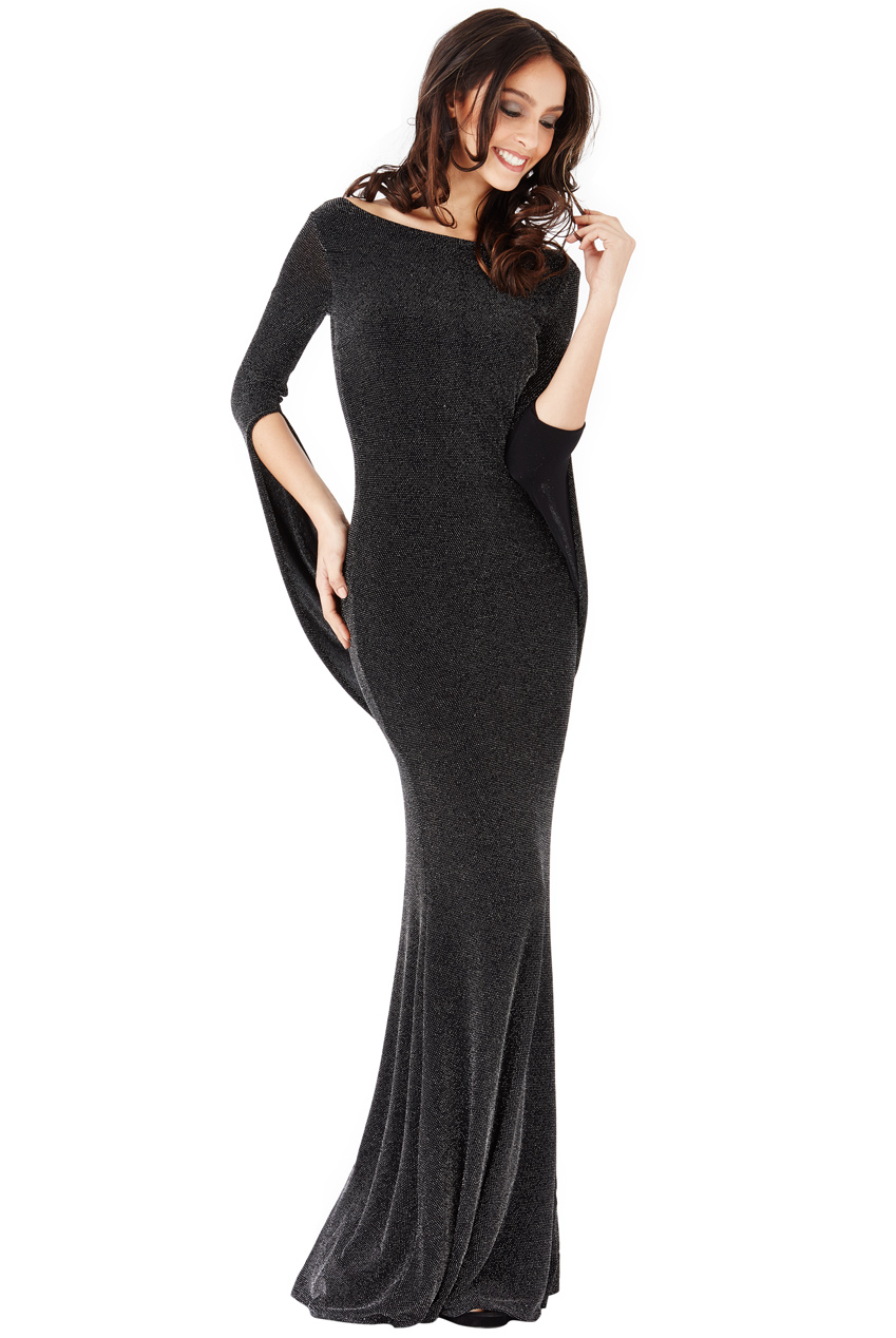 Wholesale Open Back Glitter Maxi Dress with Scarf Style Sleeve