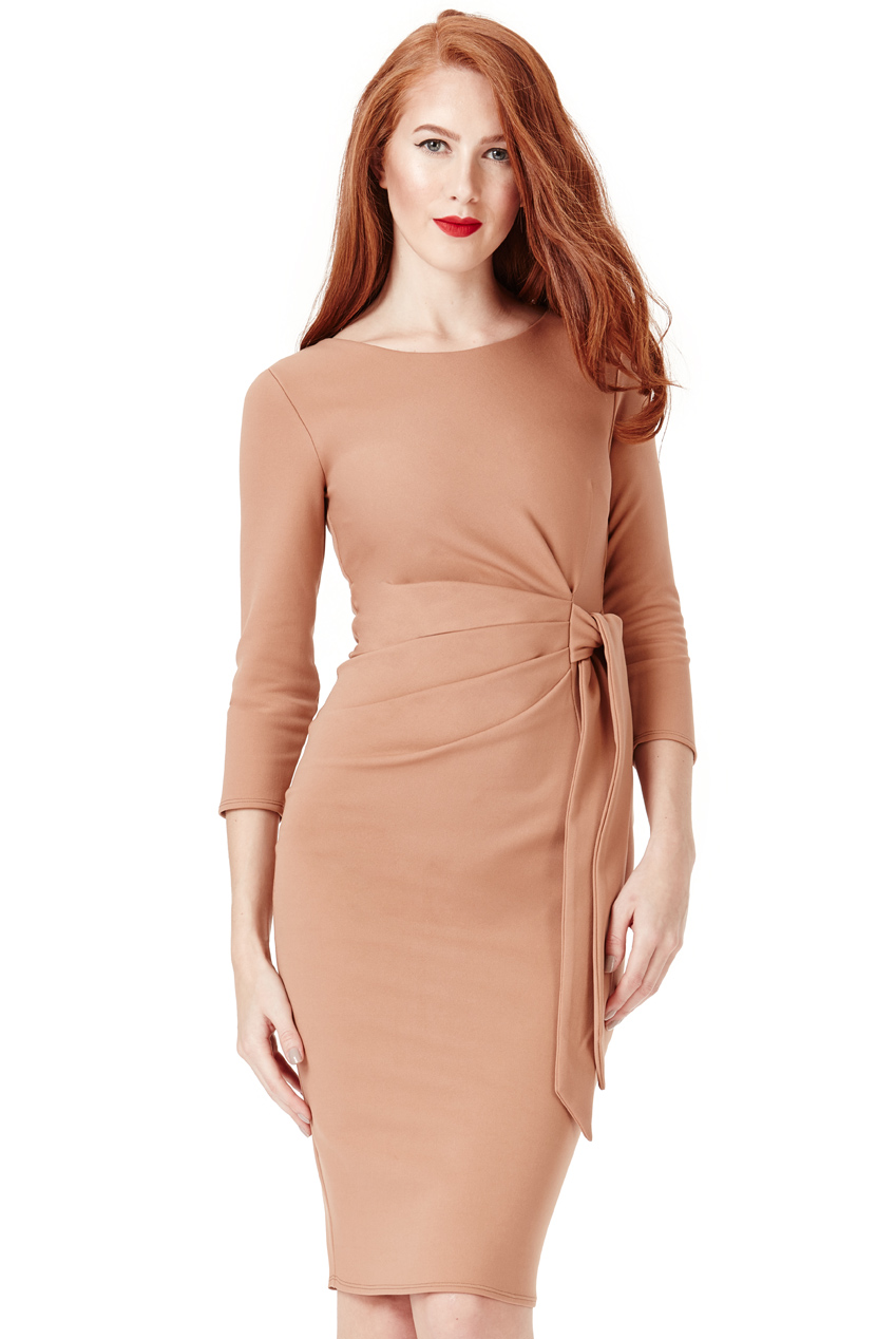 Wholesale Pleated Fitted Midi Dress with Tie Detail