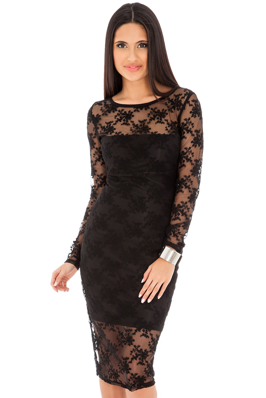 Wholesale Floral Long Sleeve Sheer Lace Midi Dress