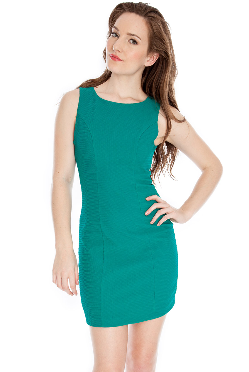 Wholesale Waffle cut out back fitted dress