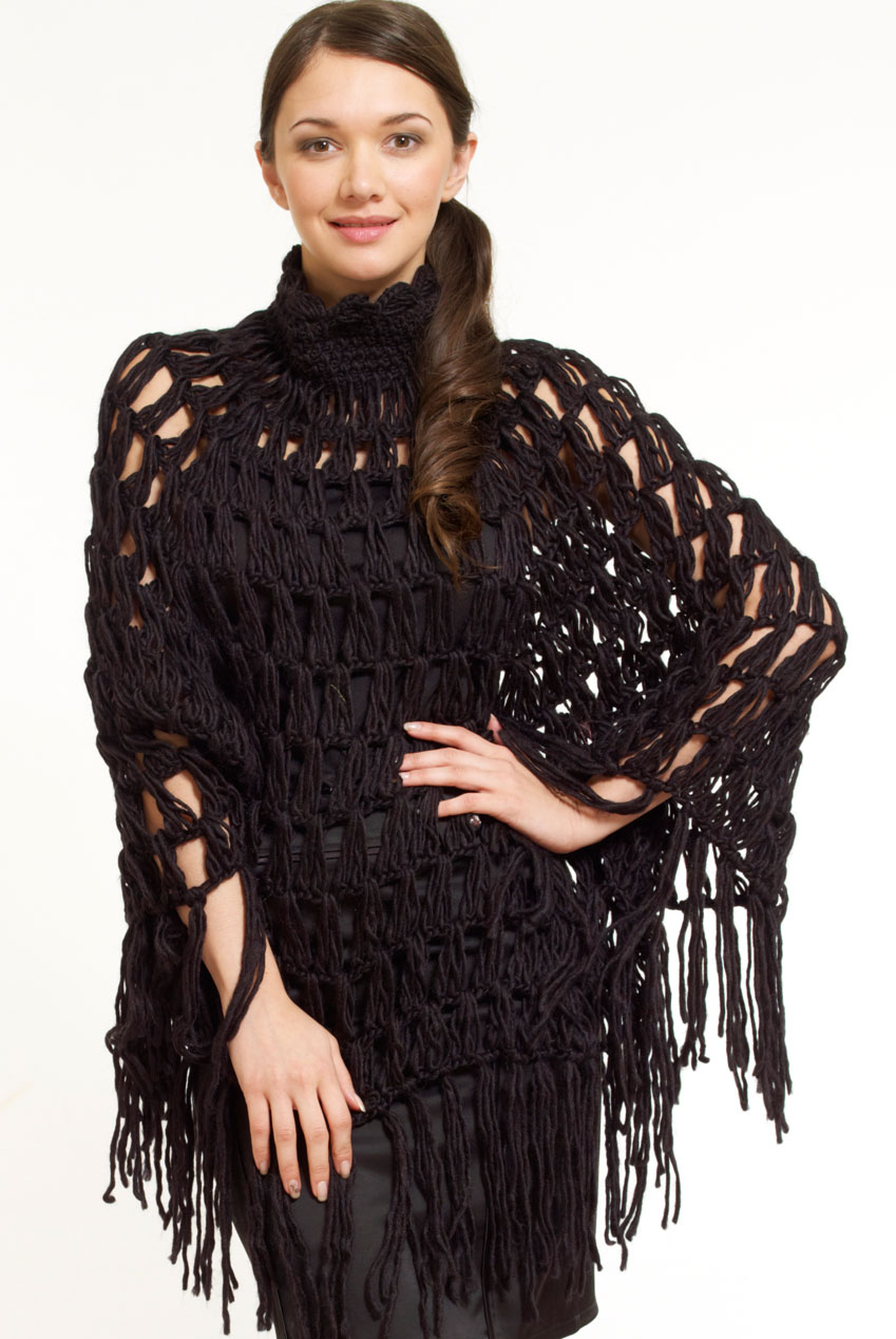 Wholesale Chunky Knit High Neck Poncho Cape Coat