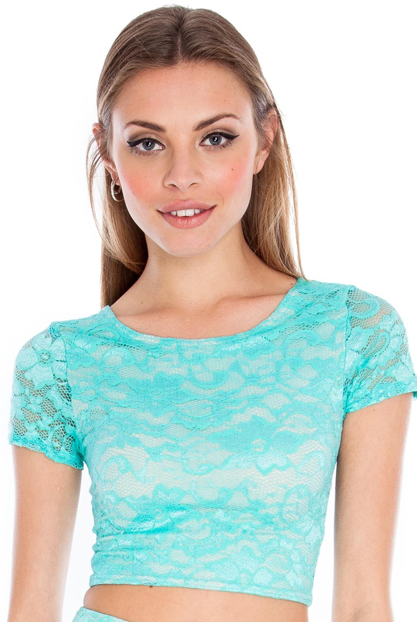 Wholesale Short sleeve lace crop top