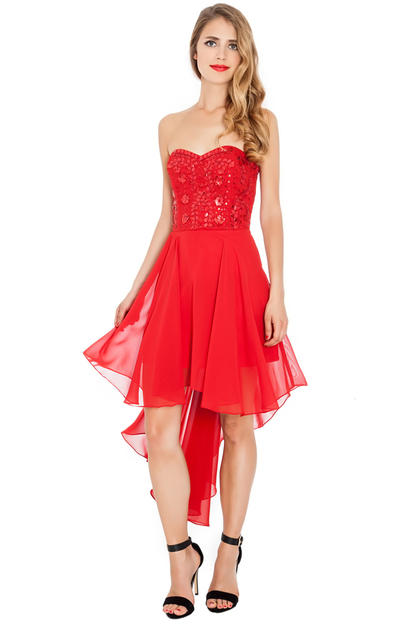 Wholesale Embellished High Low Dress