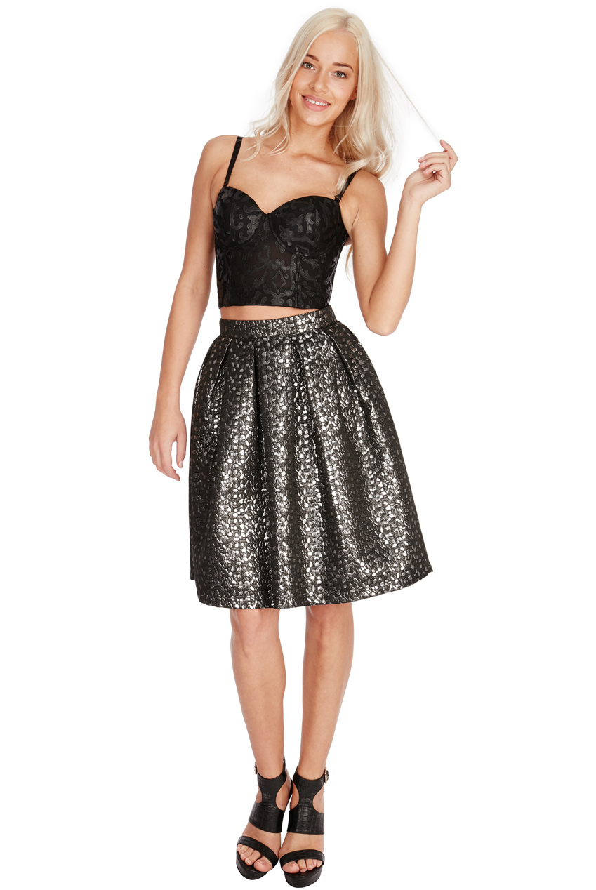 Wholesale Metallic Jacquard Midi Skirt