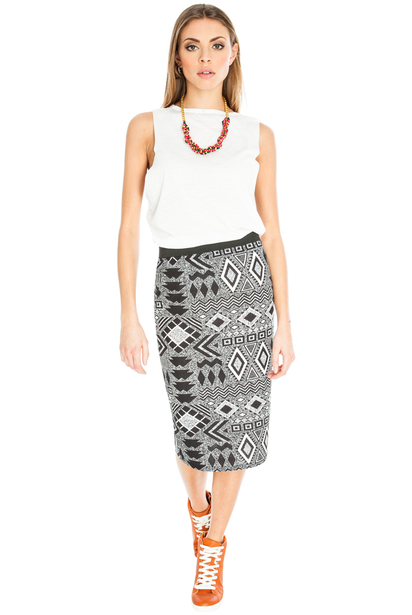 Wholesale Geo Print Pencil Skirt