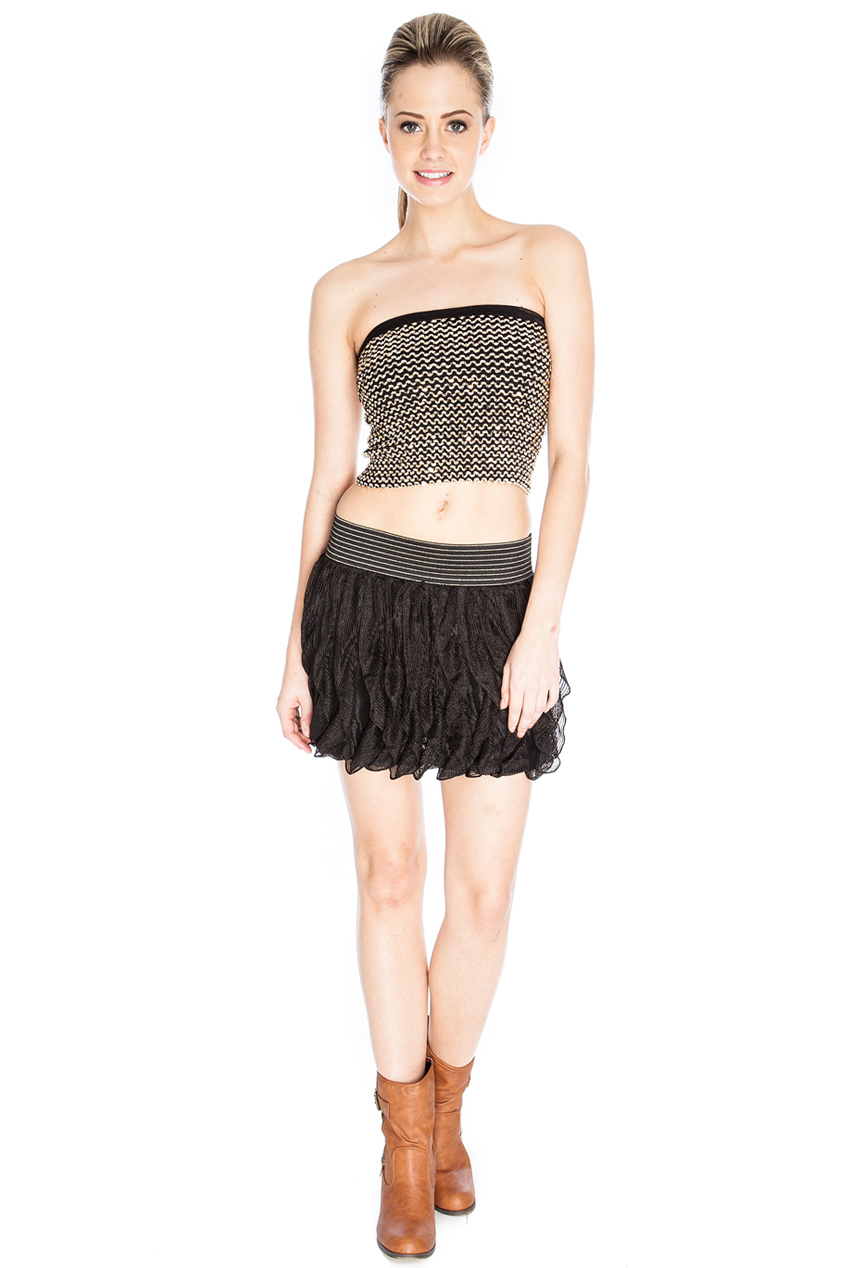 Wholesale Vertical Frill Knitted Skirt