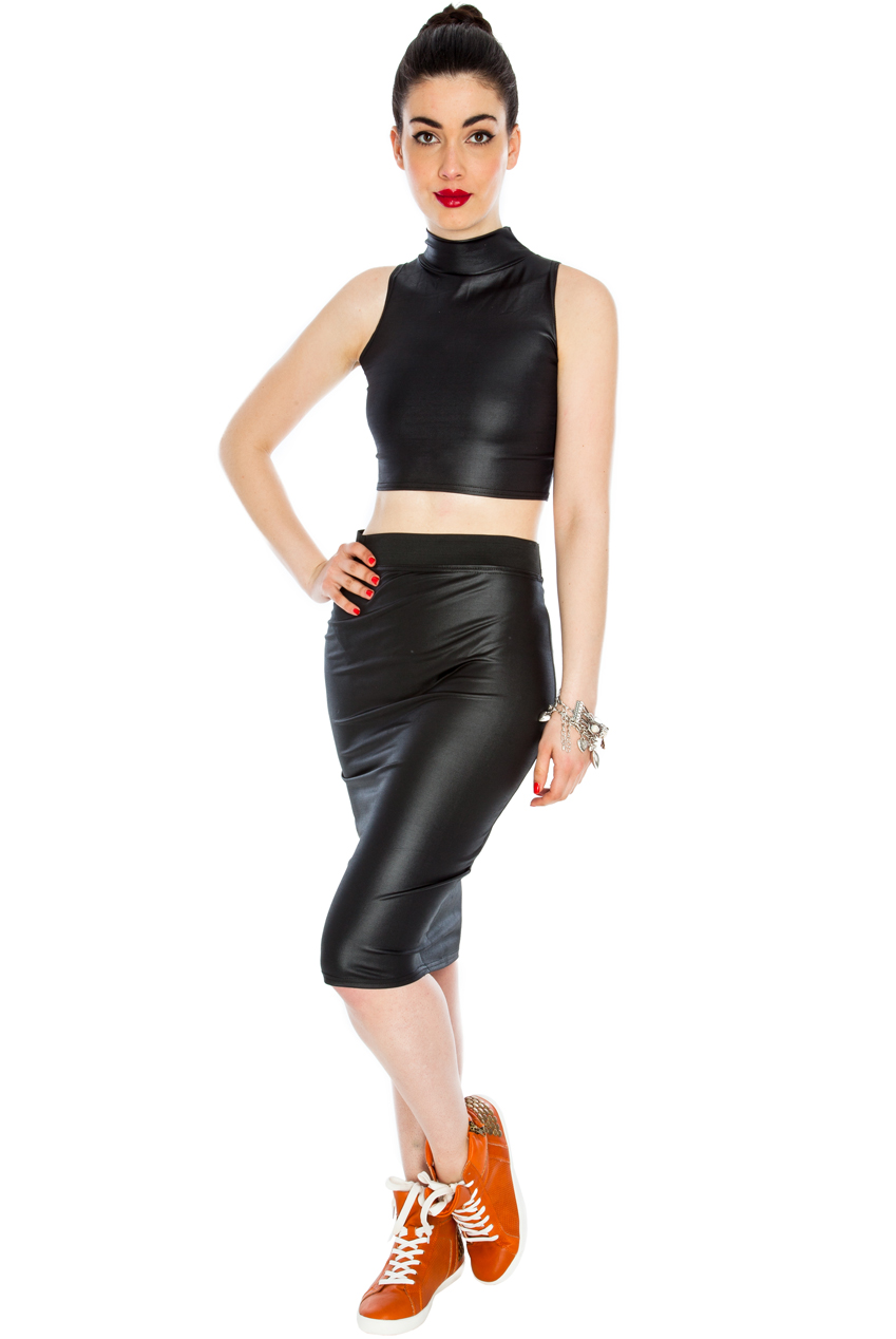 Wholesale PU Pencil Midi Skirt