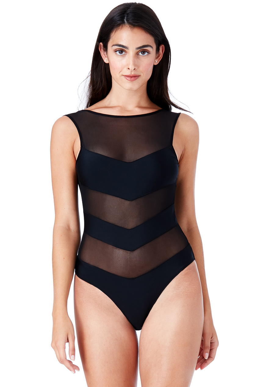 Wholesale Striped Mesh Swimsuit