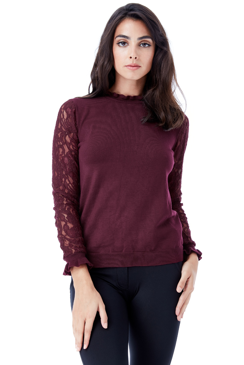 Wholesale High Neck Jumper with Lace Sleeves