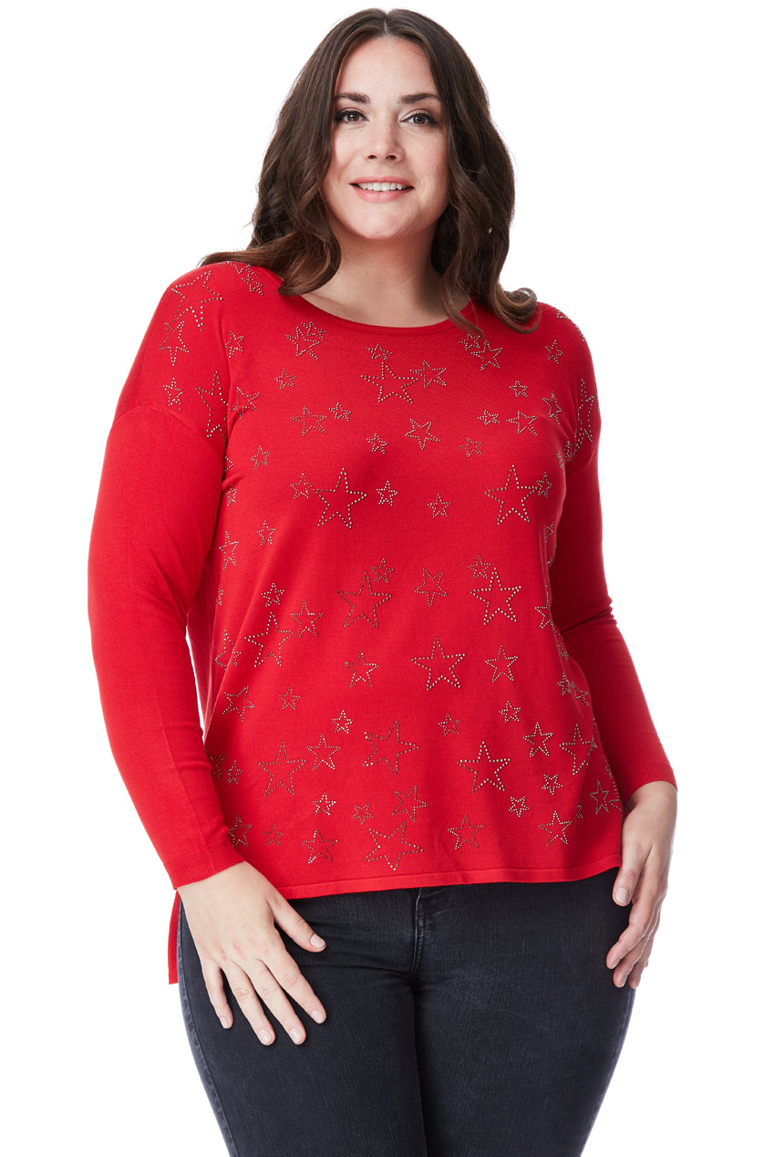 Wholesale Plus Size Long Sleeved Star Jumper