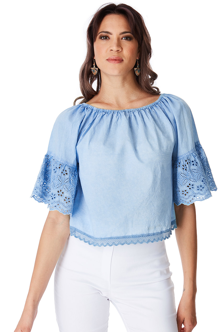 Wholesale Off The Shoulder Top With Embroidered Bell Sleeves