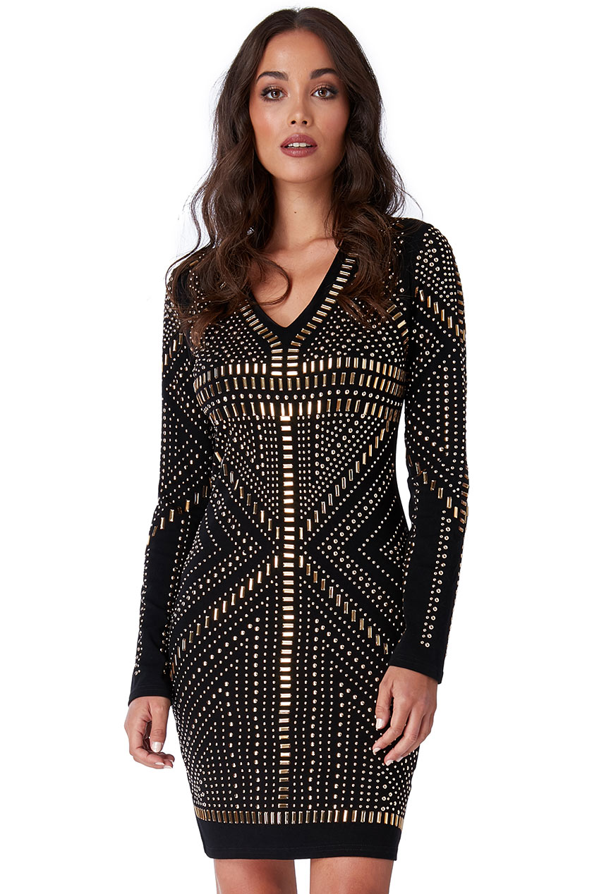 Wholesale Long Sleeve Studded Mini Dress