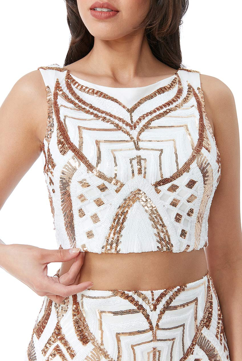Wholesale Embroidered Sequin Crop Top