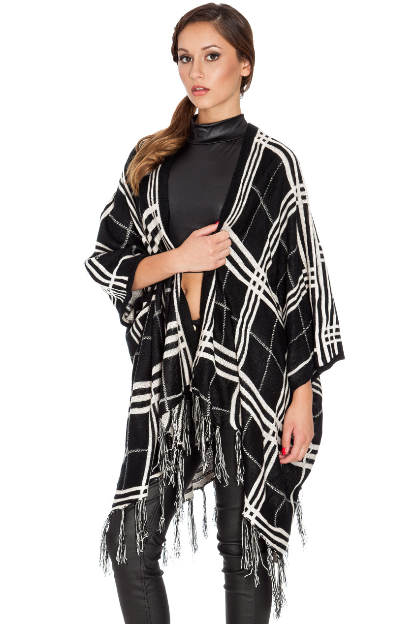 Wholesale Geometric Knitted  Poncho