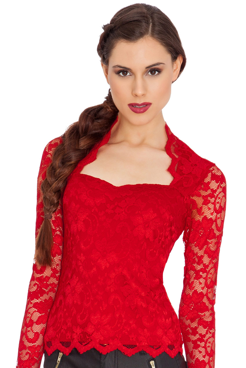 Queen Anne Neckline Long Sleeve Lace Top
