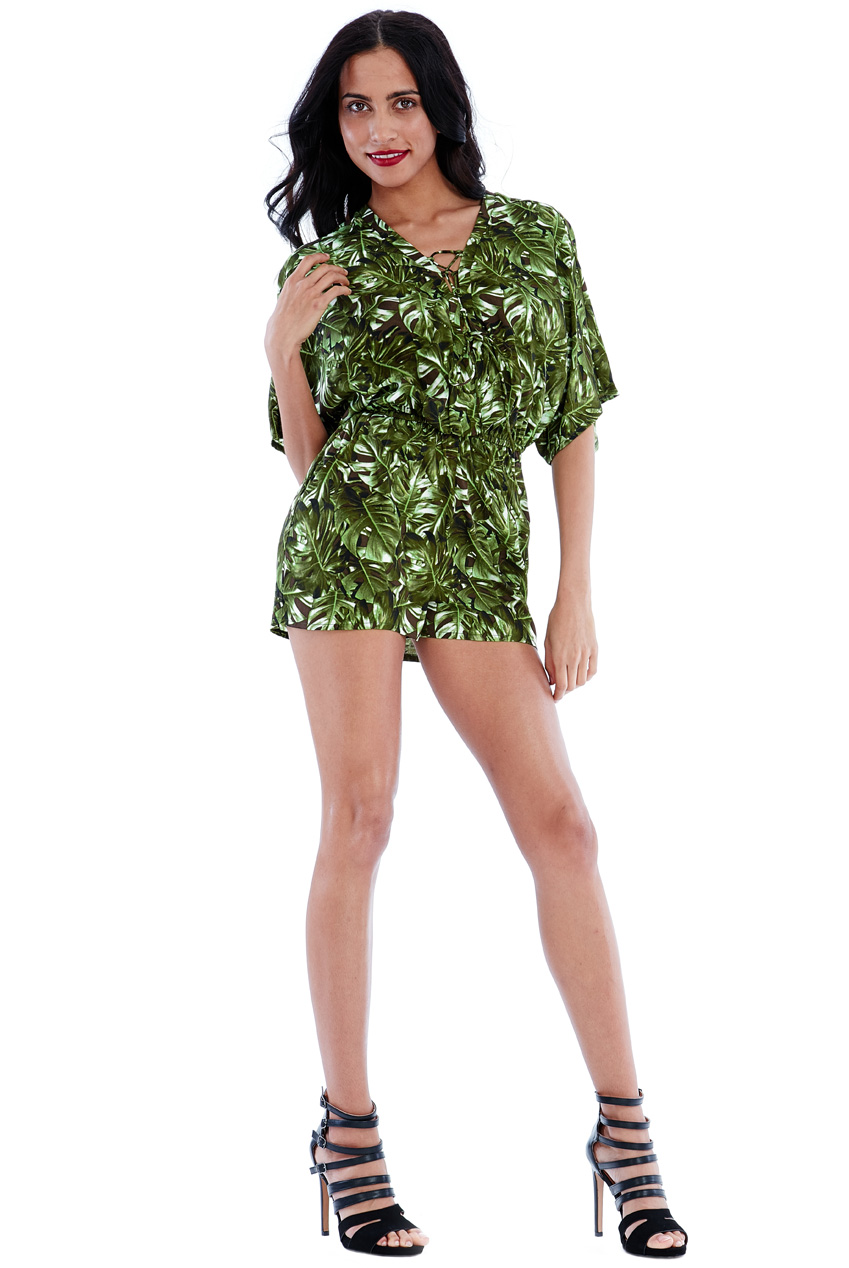 Wholesale Tropical Leaf Print Lace Up Playsuit