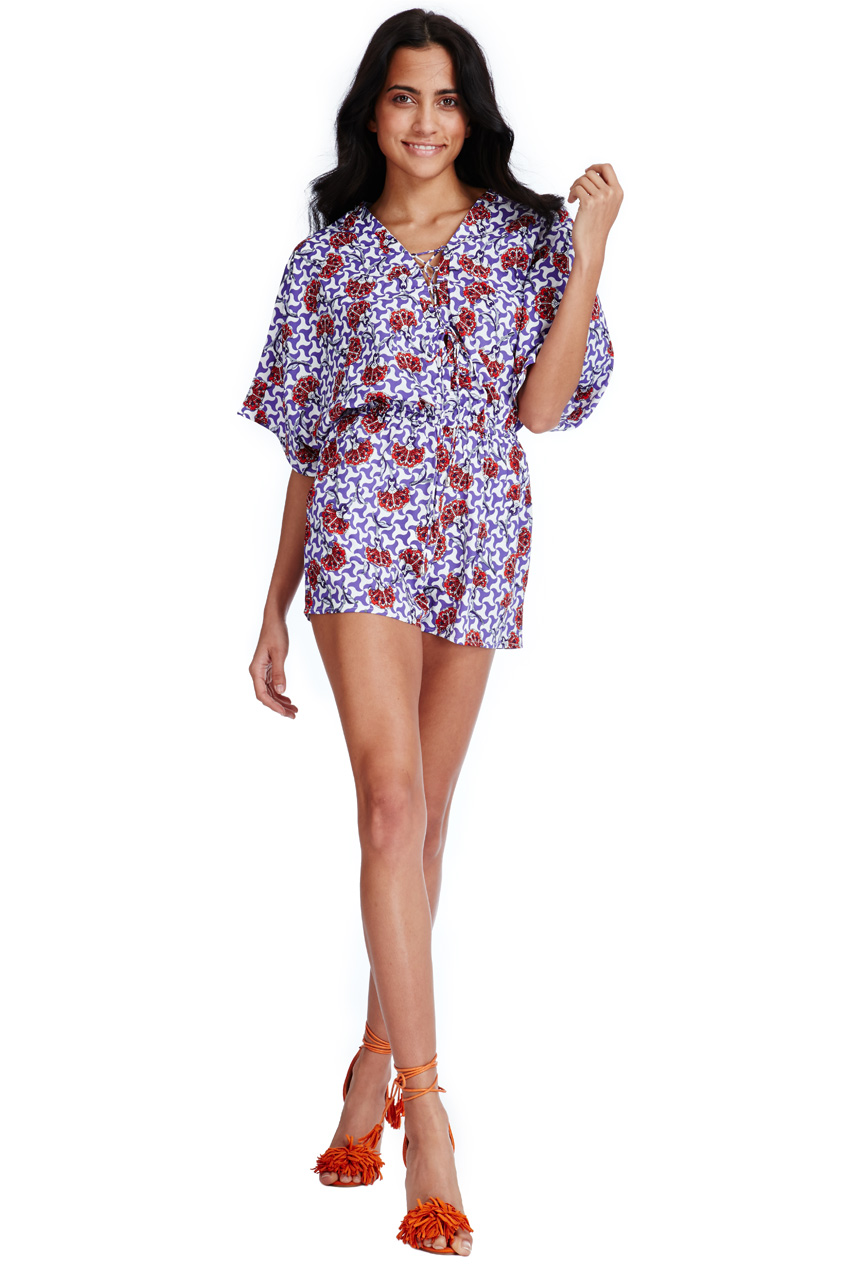 Wholesale Oriental Print Lace Up Playsuit