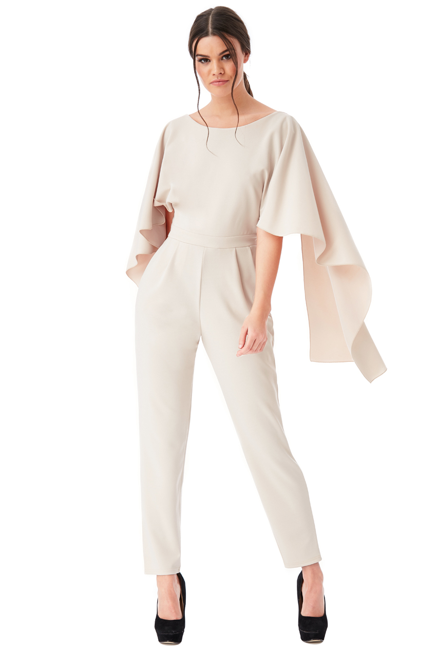 Wholesale Open Back Jumpsuit with Waterfall Sleeves
