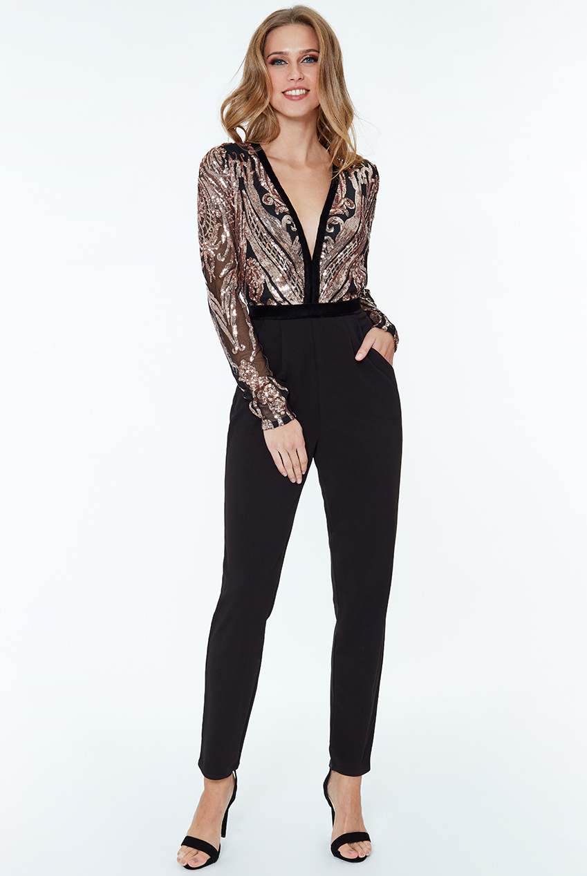 Wholesale Stephanie Pratt - Deep V Neck Sequin Embroidered Jumpsuit