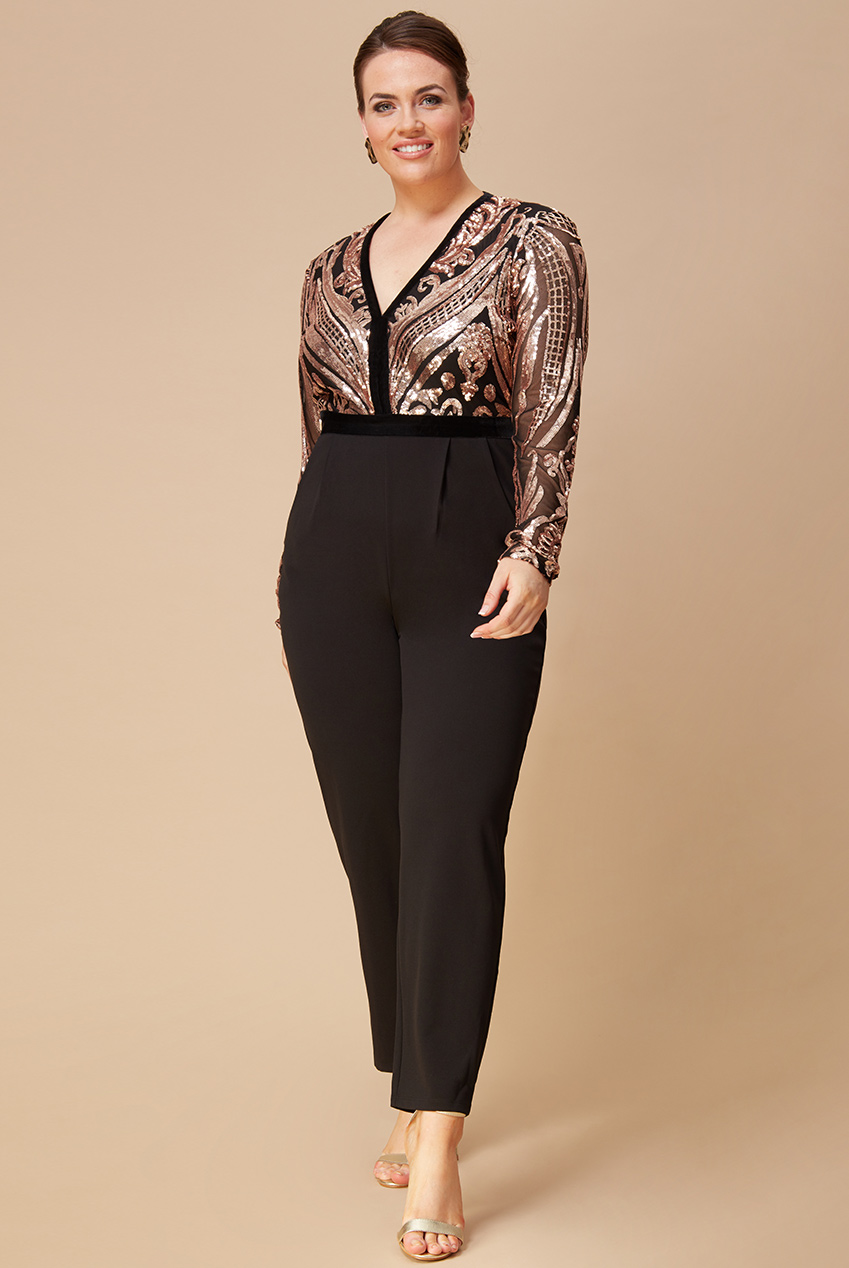 Wholesale Plus Size Deep V Neck Sequin Jumpsuit