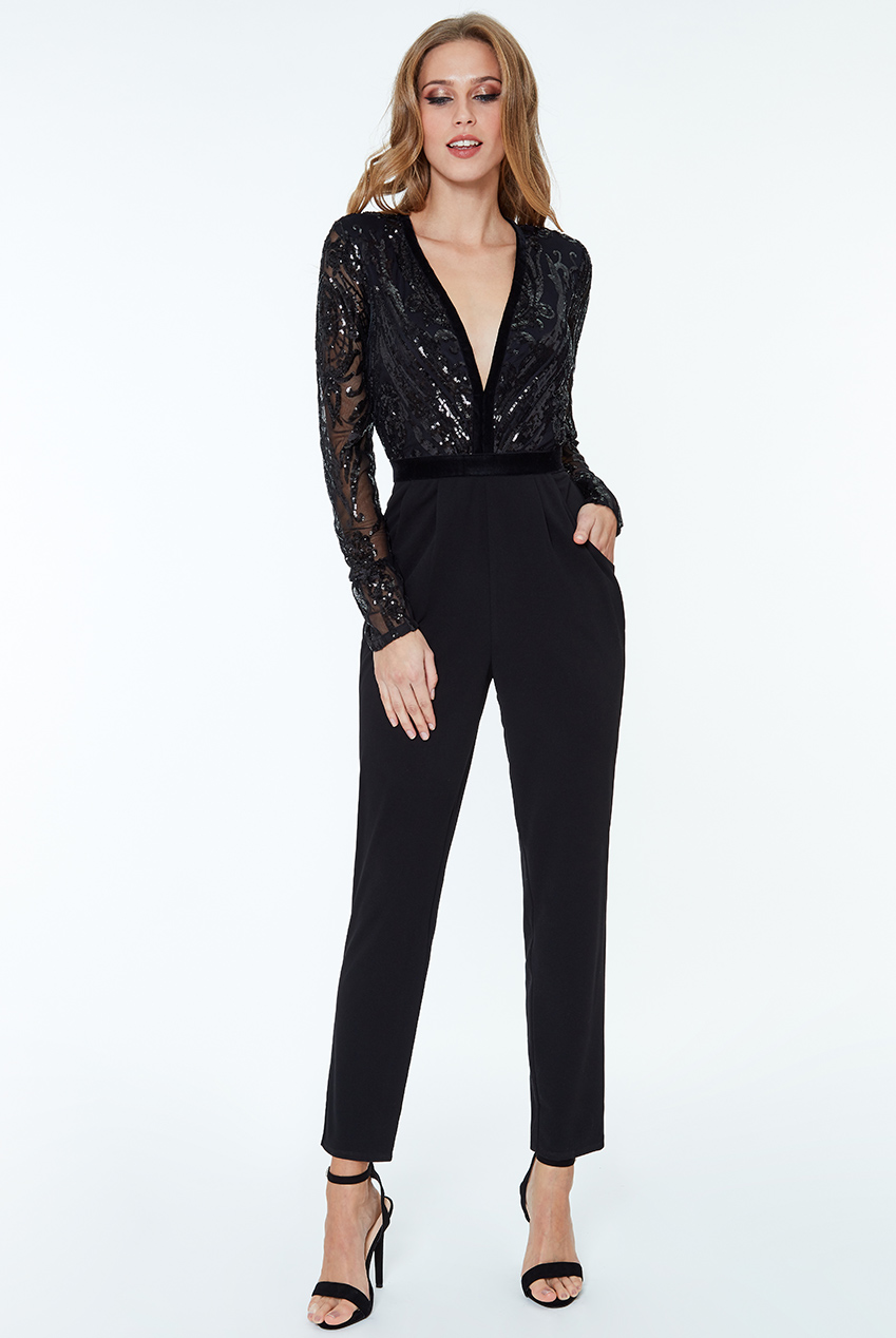 Wholesale Stephanie Pratt- Deep V Neck Sequin Embroidered Jumpsuit