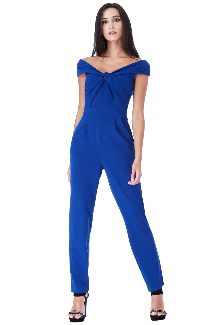 Wholesale Bardot Jumpsuit with Twisted Neckline