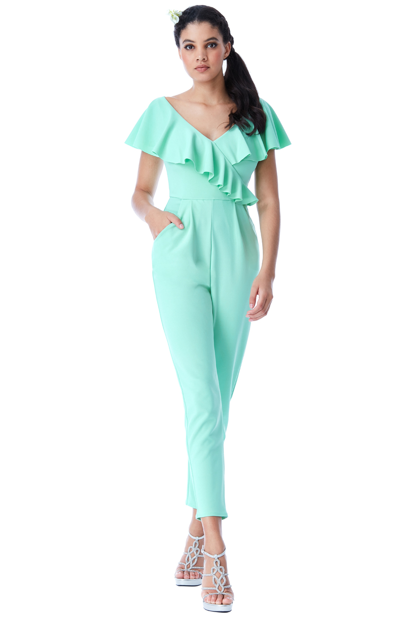 Wholesale Frilled V Neckline Jumpsuit