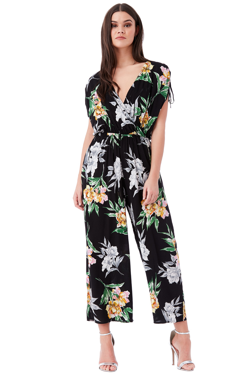 Wholesale Wide-Leg Floral Print Jumpsuit with Overlapping V Neck