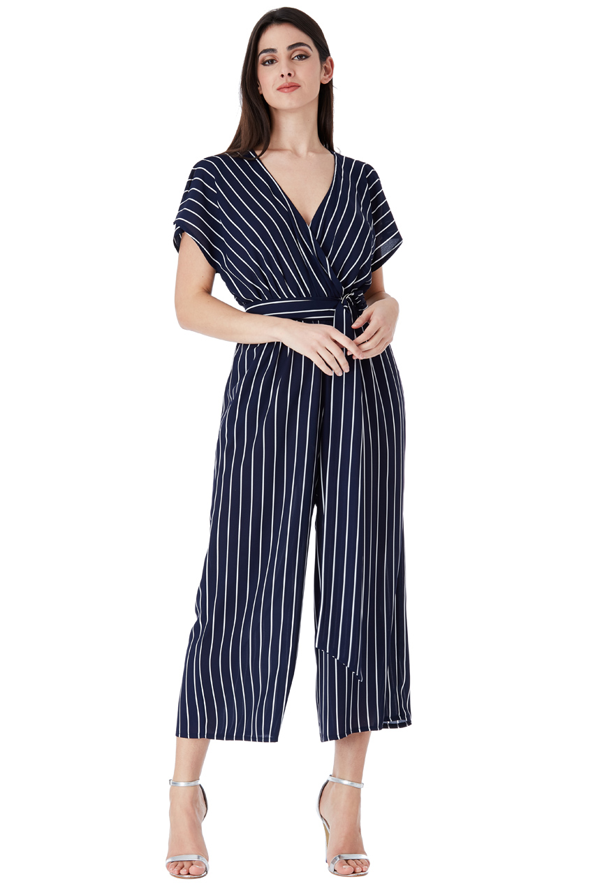 Wholesale Striped Wide Leg Jumpsuit with Belt