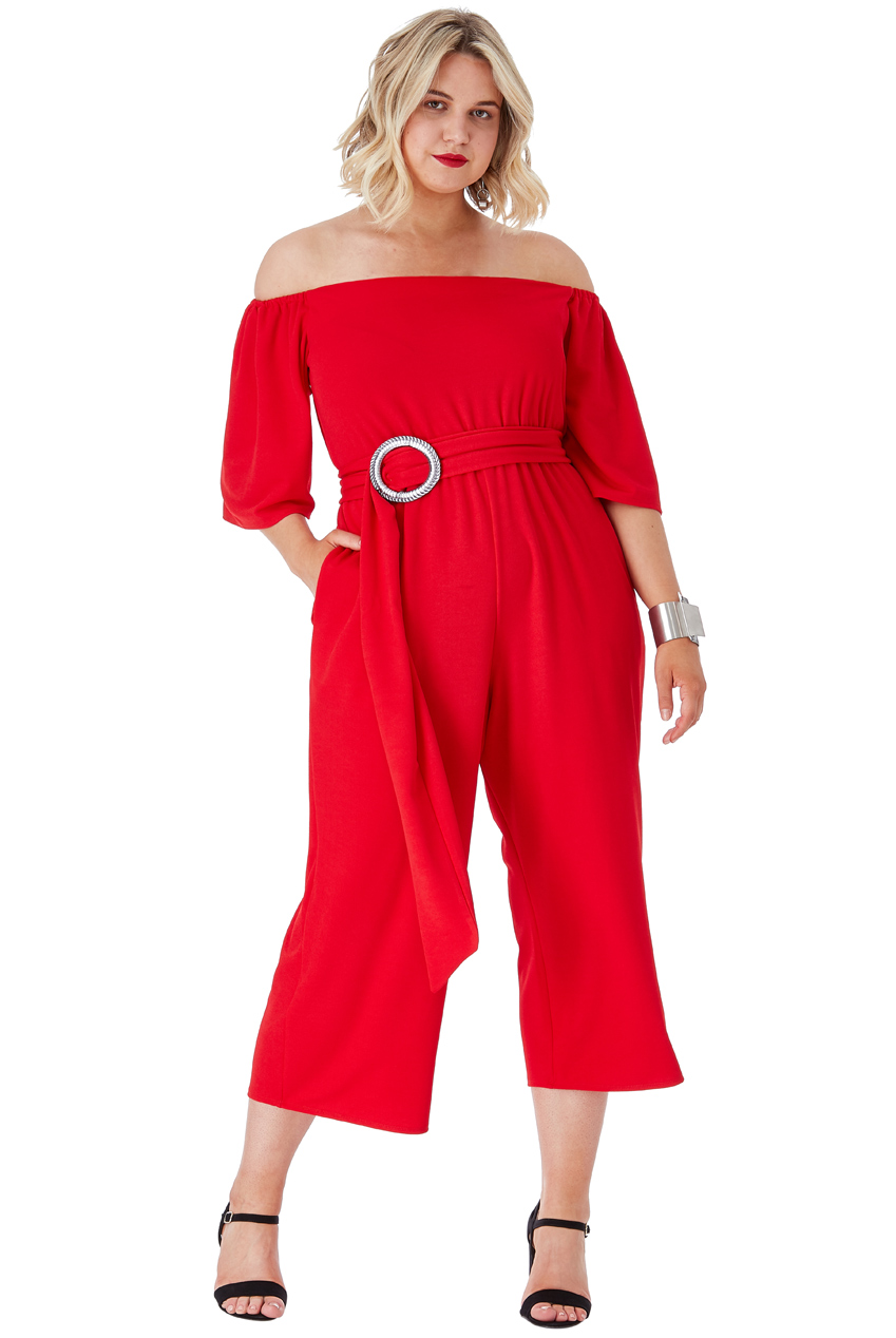 Wholesale Plus Size Bardot Culotte Jumpsuit with Belt