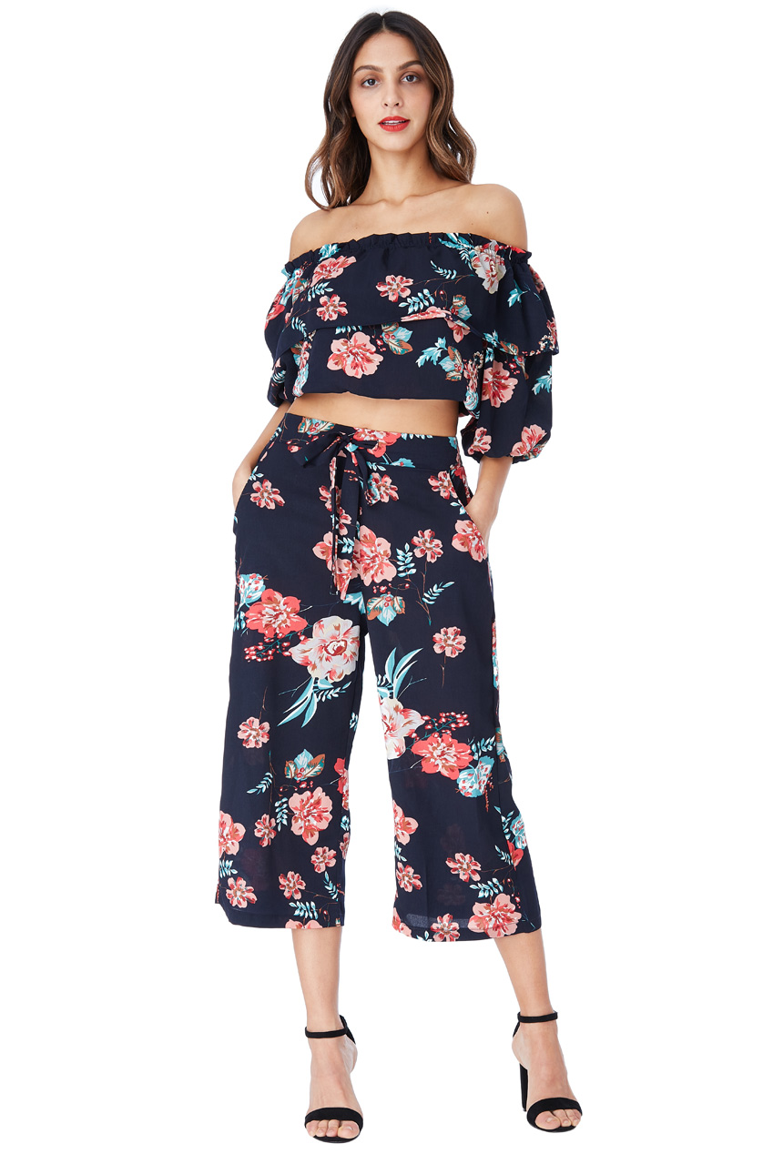 Wholesale Navy Floral Co-ord Top and Trouser Set