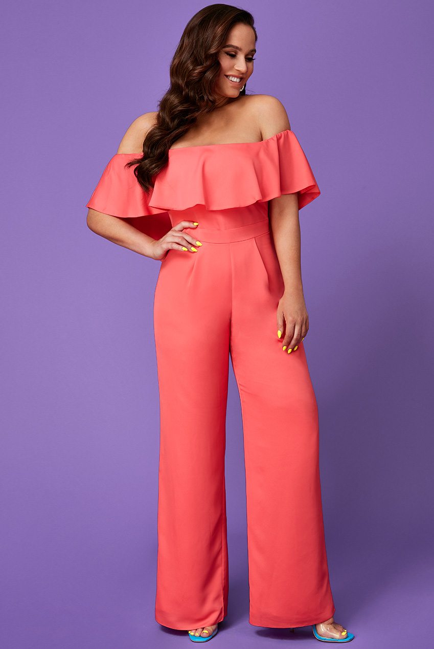 Wholesale Vicky Pattison – Frilled Off the Shoulder Jumpsuit