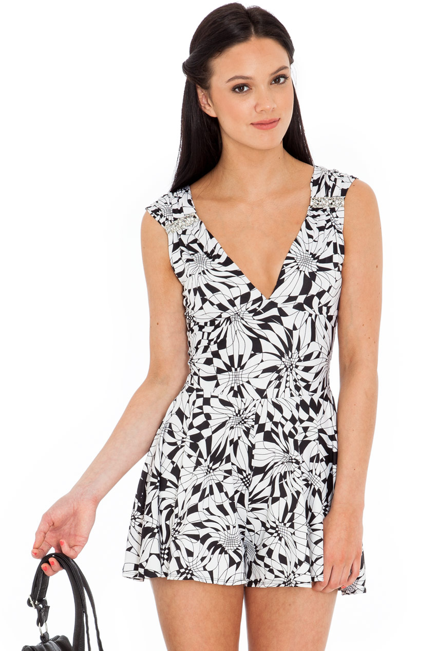 Wholesale Deep V Geometric Monochrome Play Suit with Diamante accents