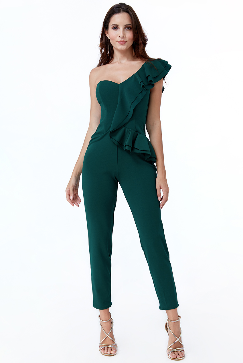 Wholesale One Shoulder Frill Jumpsuit