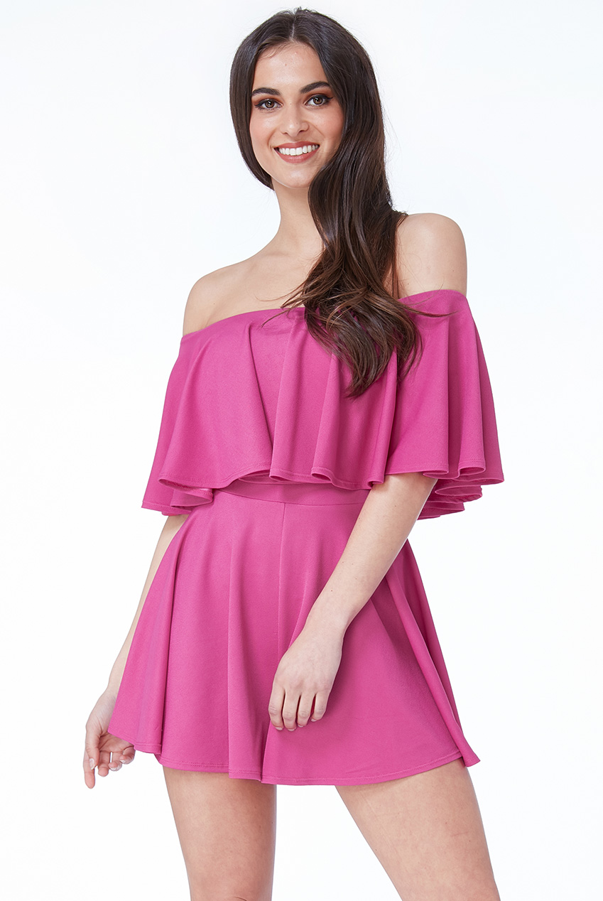 Wholesale Off The Shoulder Frill Neck Skater Playsuit