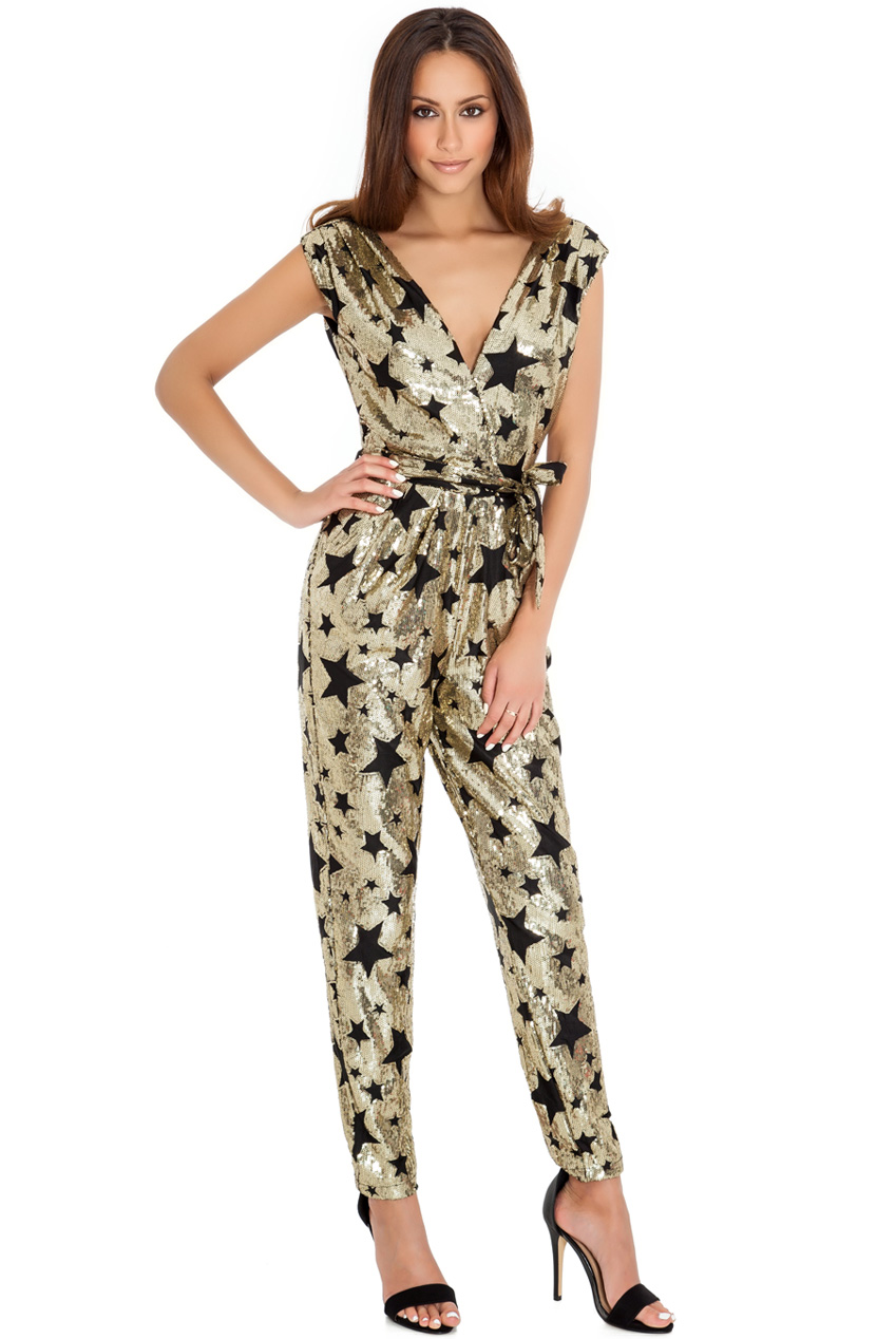 Wholesale Gold star sequin jumpsuit