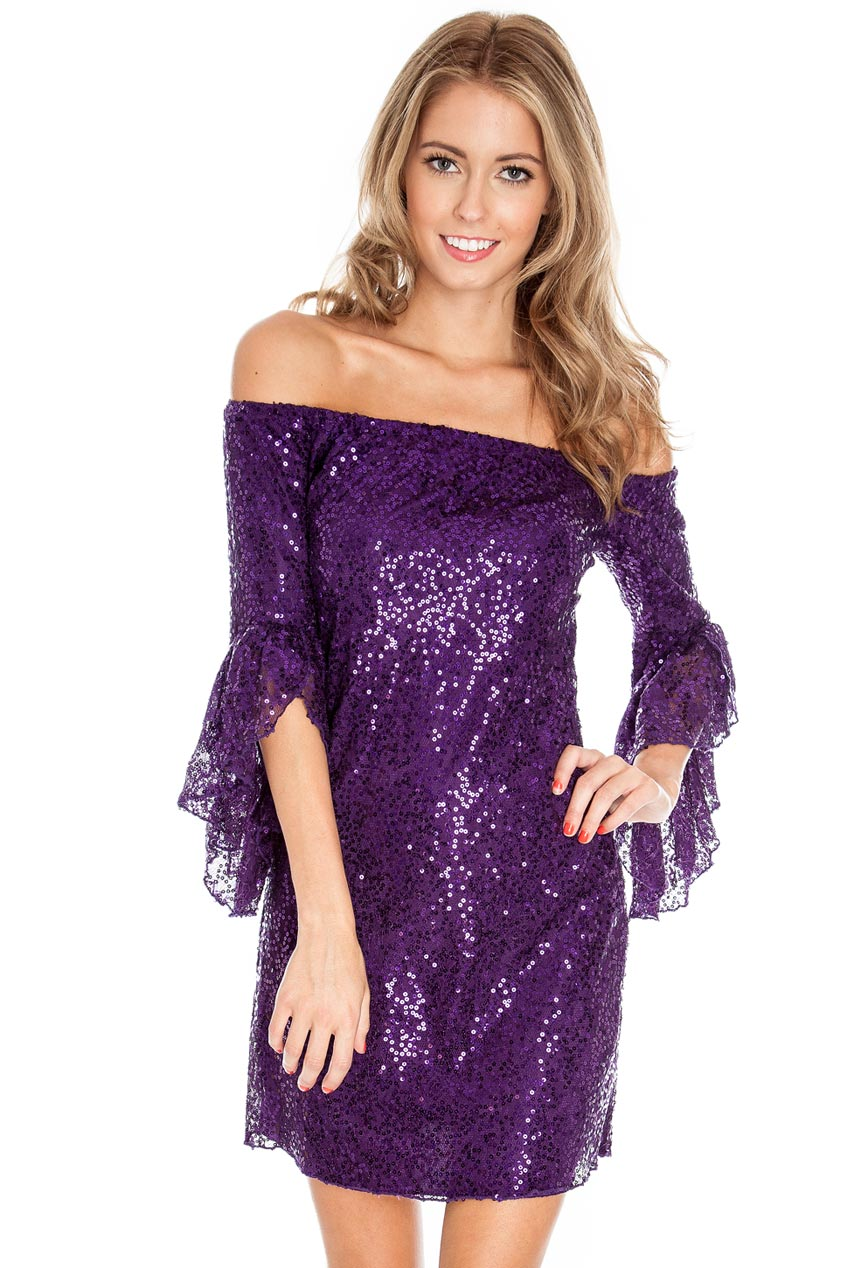 61552a7022 Off the shoulder frill sleeve sequin tunic dress